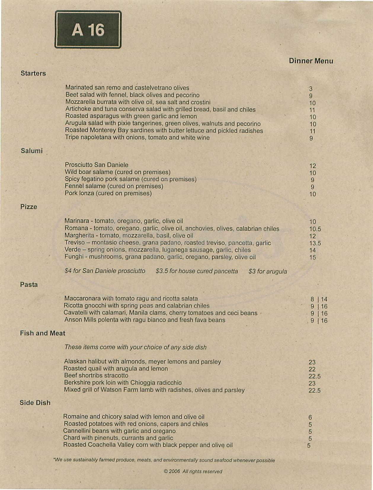 menu for A 16