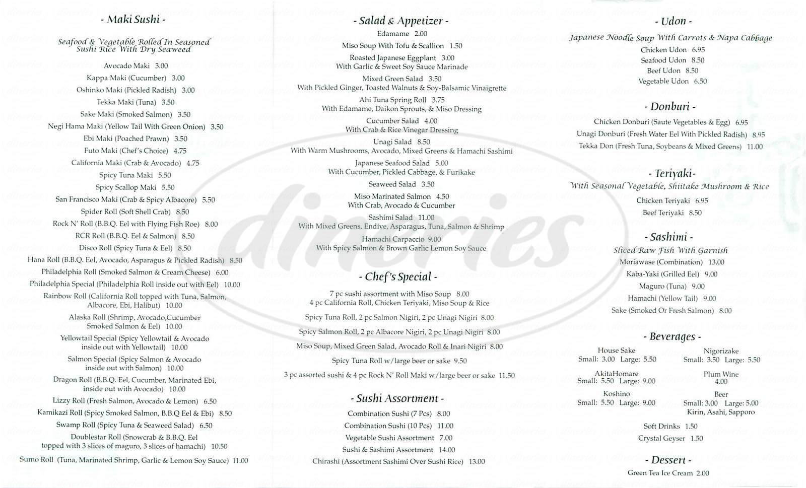 menu for Akikos Sushi Bar