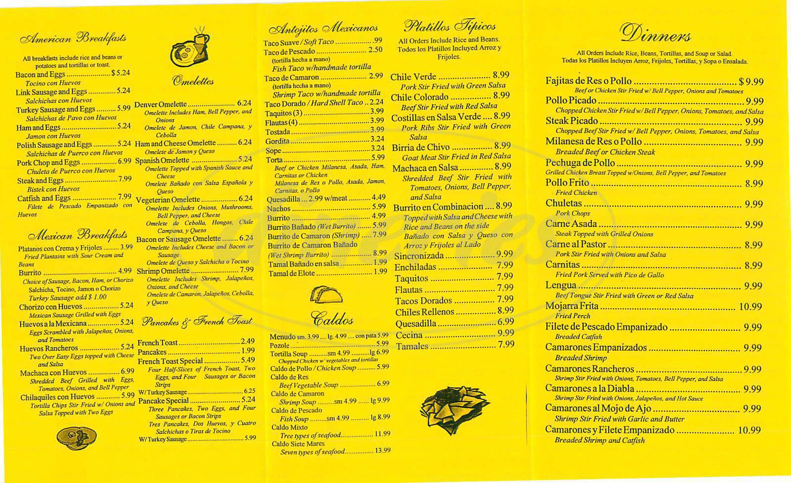 menu for Tonnys Restaurant