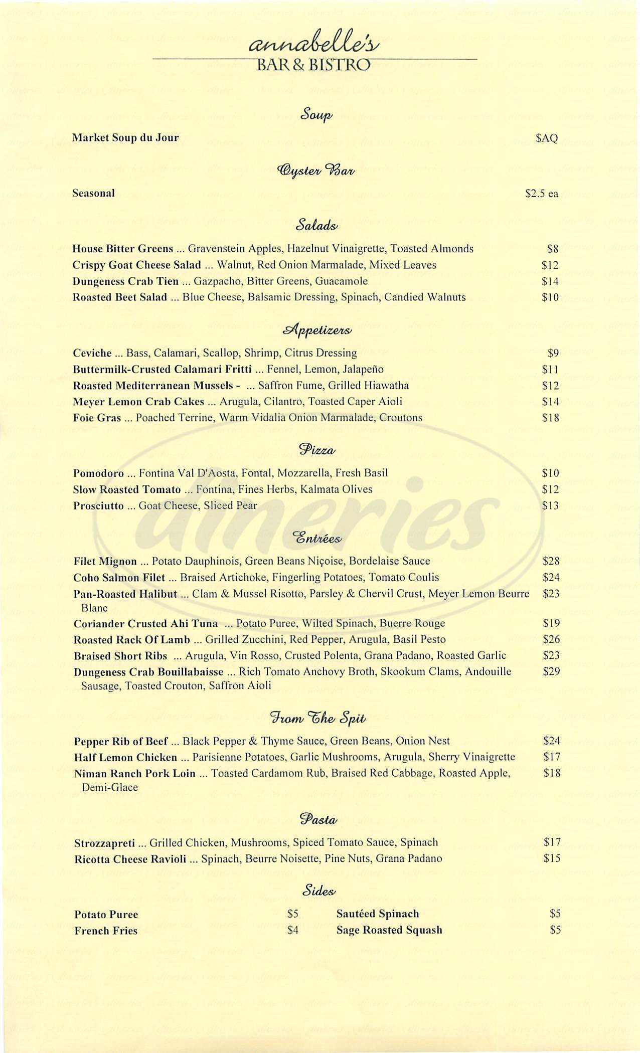 menu for Annabelles Bar & Bistro