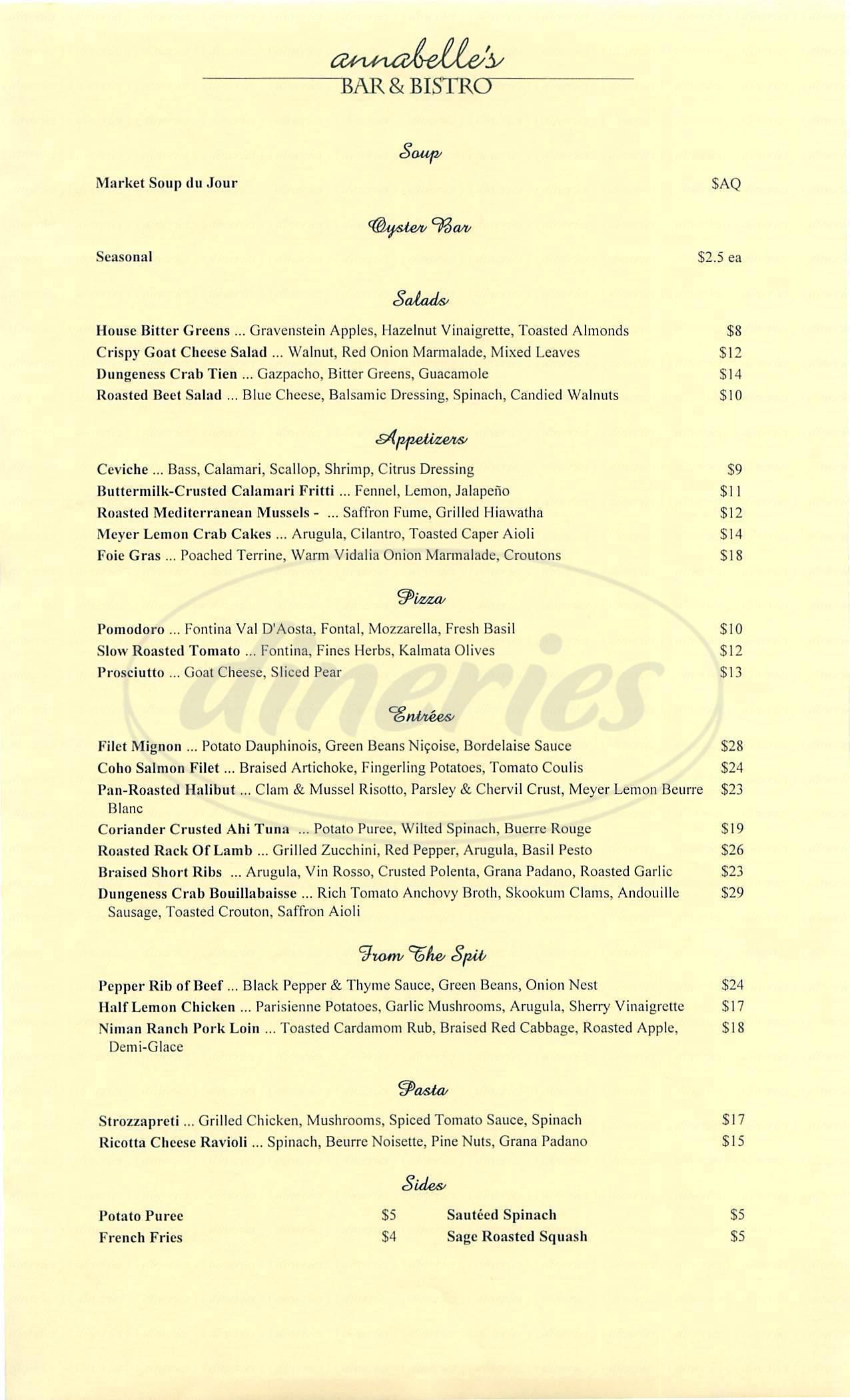 menu for Annabelles Bar & Bistro