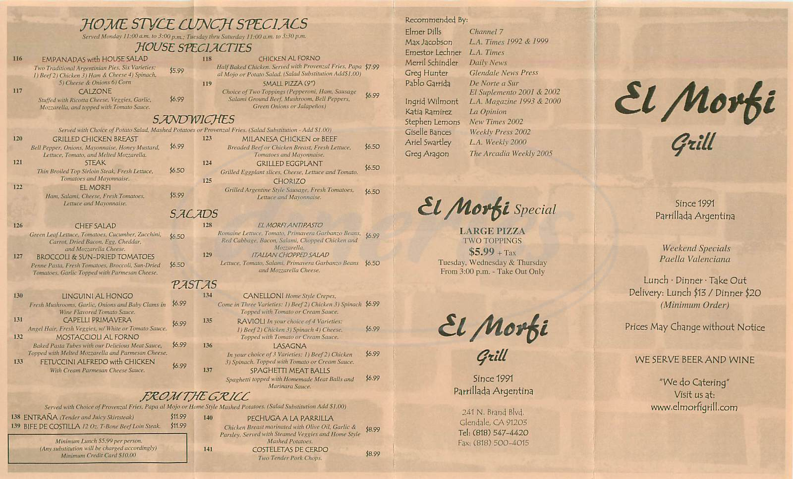 menu for El Morfi Grill