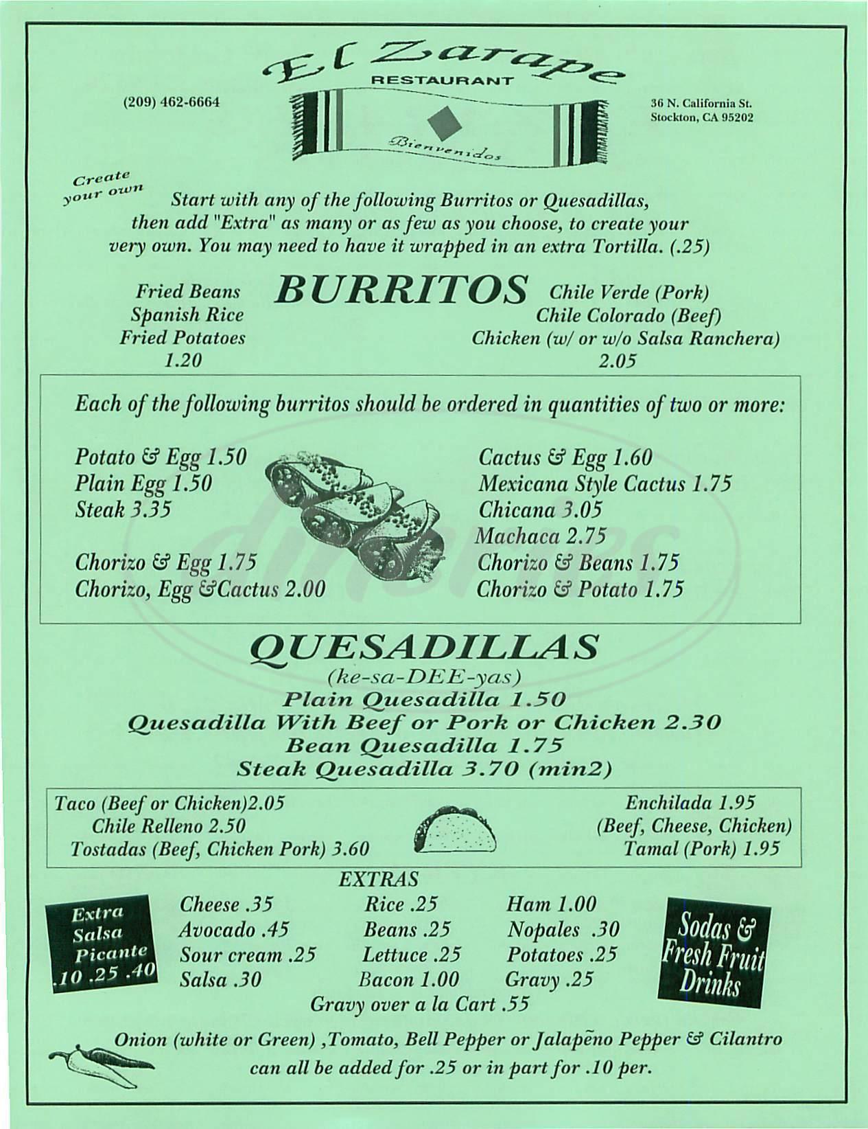 menu for El Zarape