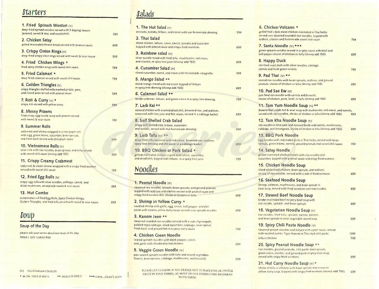 menu for Banana Hut