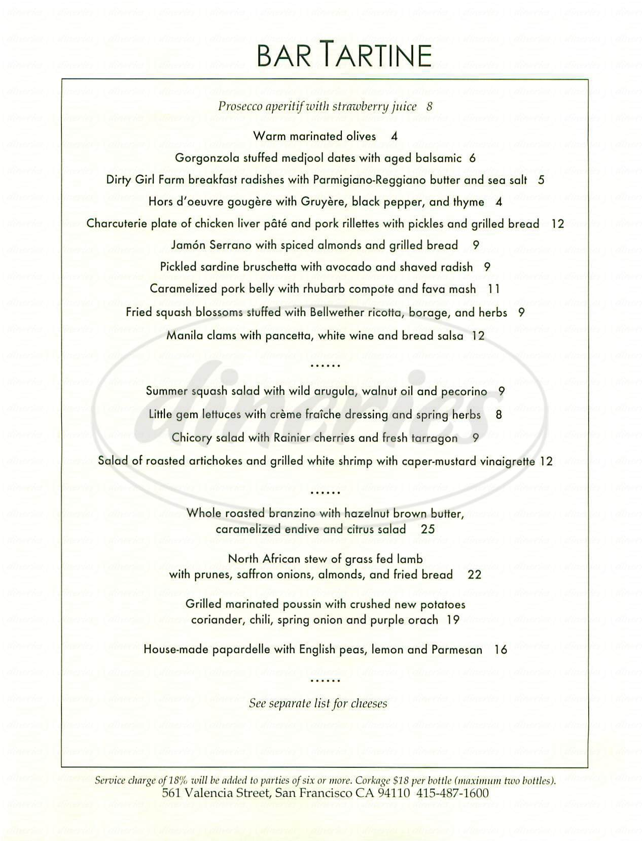 menu for Bar Tartine