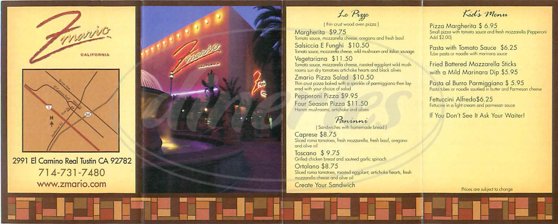 menu for Z Mario
