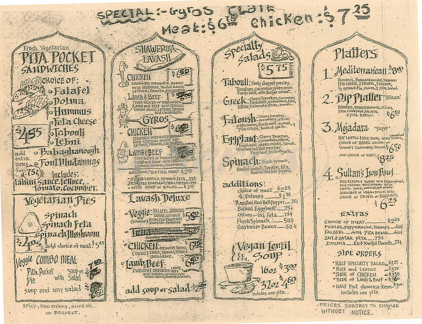 menu for Baladie Gourmet Café