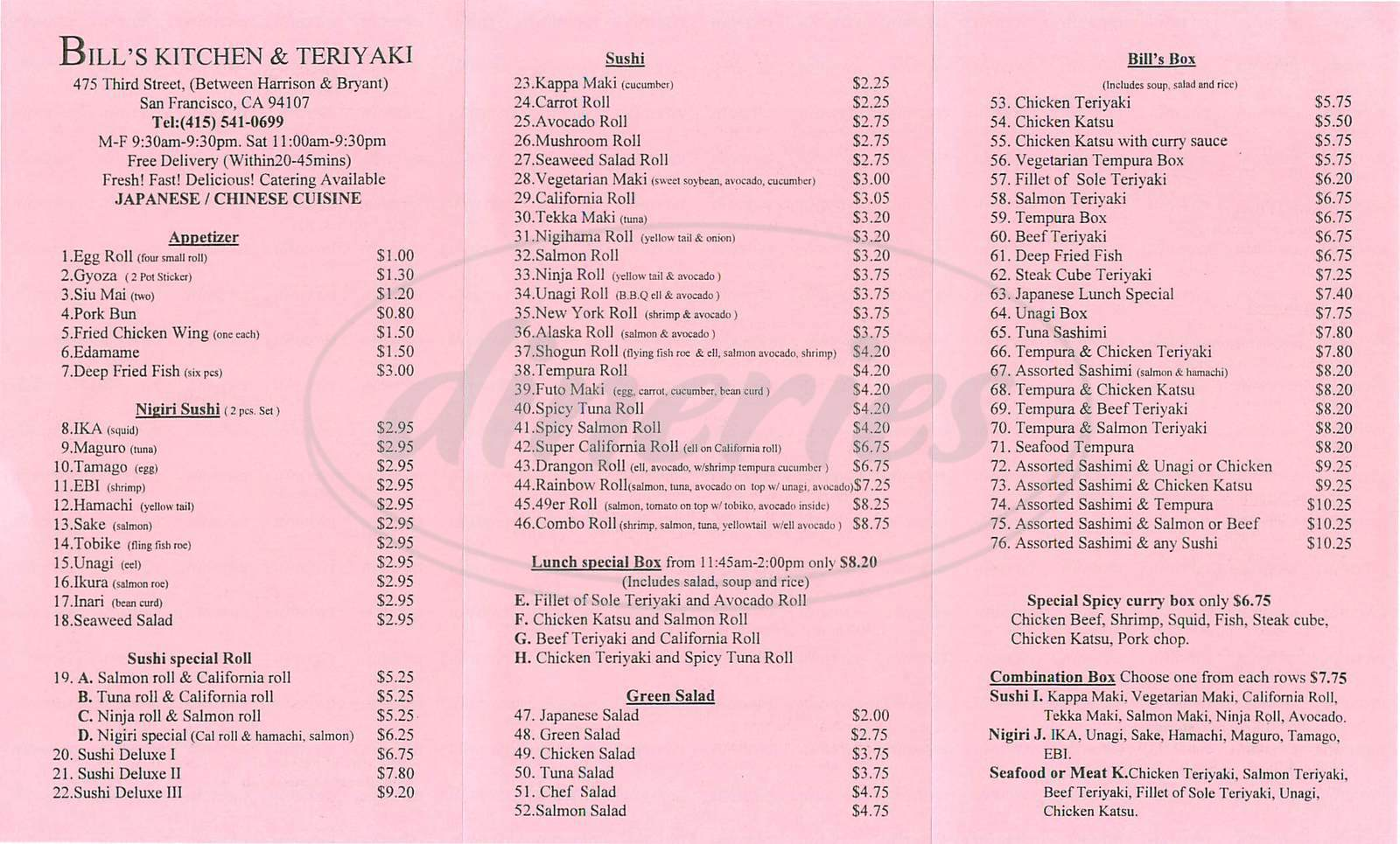 menu for Bills Kitchen and Teriyaki