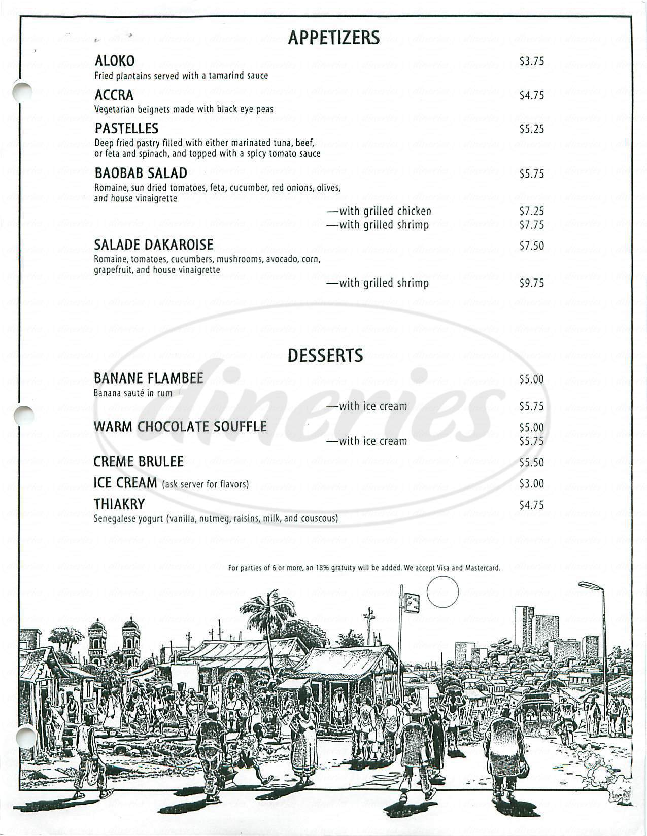 menu for Bissap Baobab