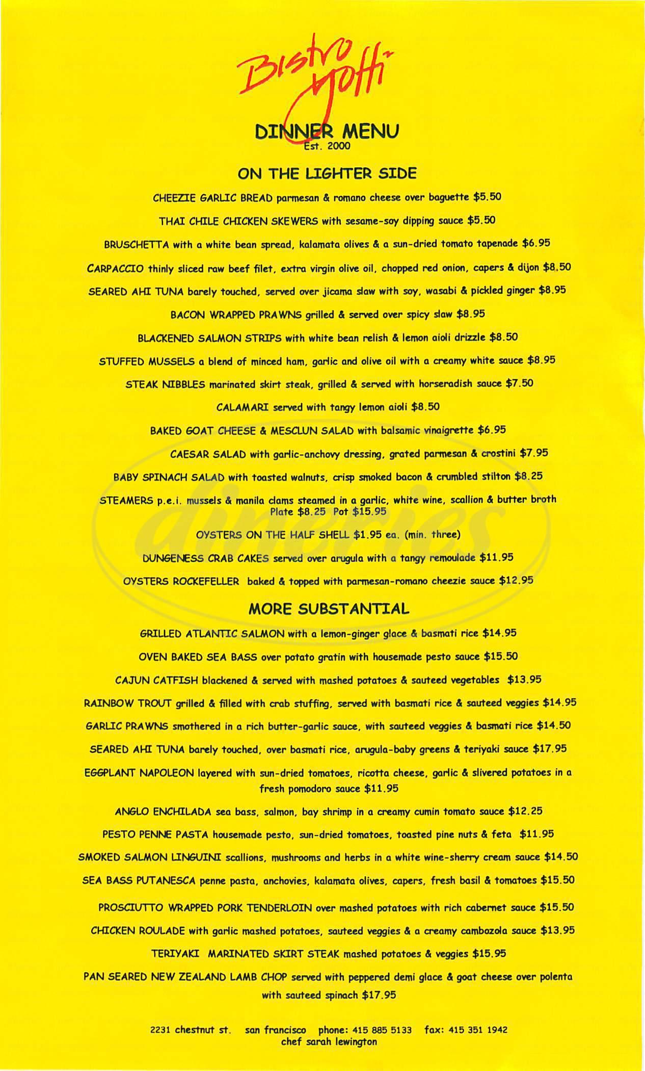 menu for Bistro Yoffi