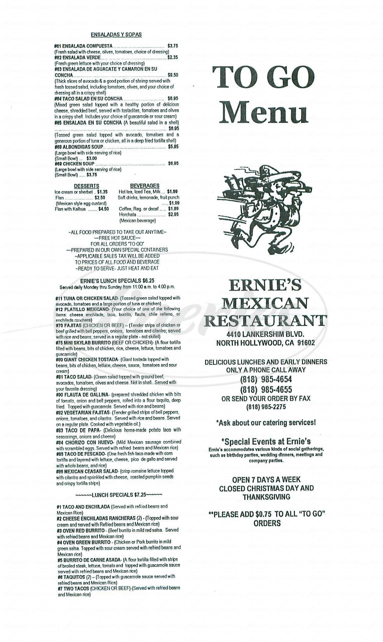 menu for Ernies Mexican Restaurant
