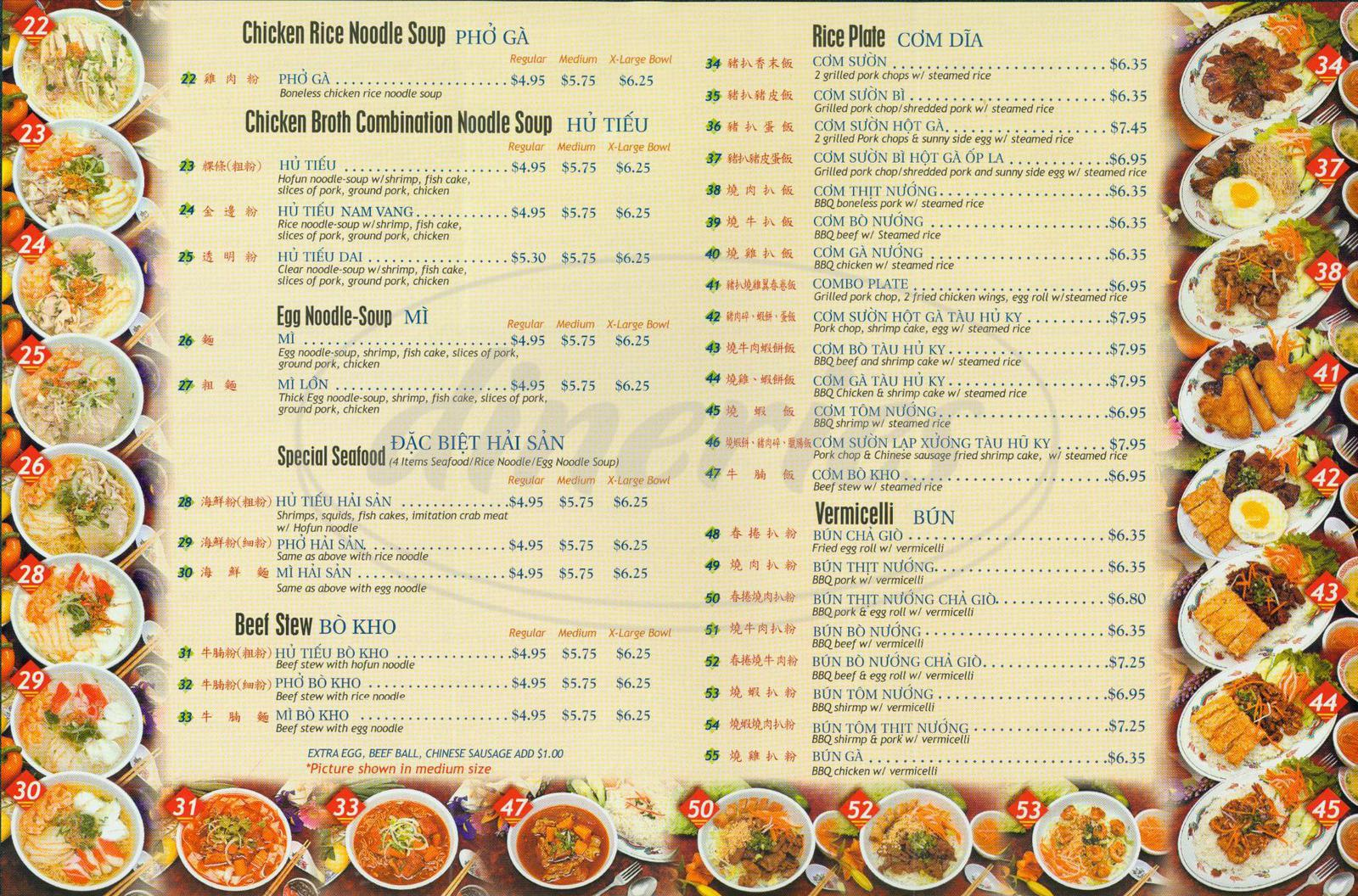 menu for Pho Hoa Hiep