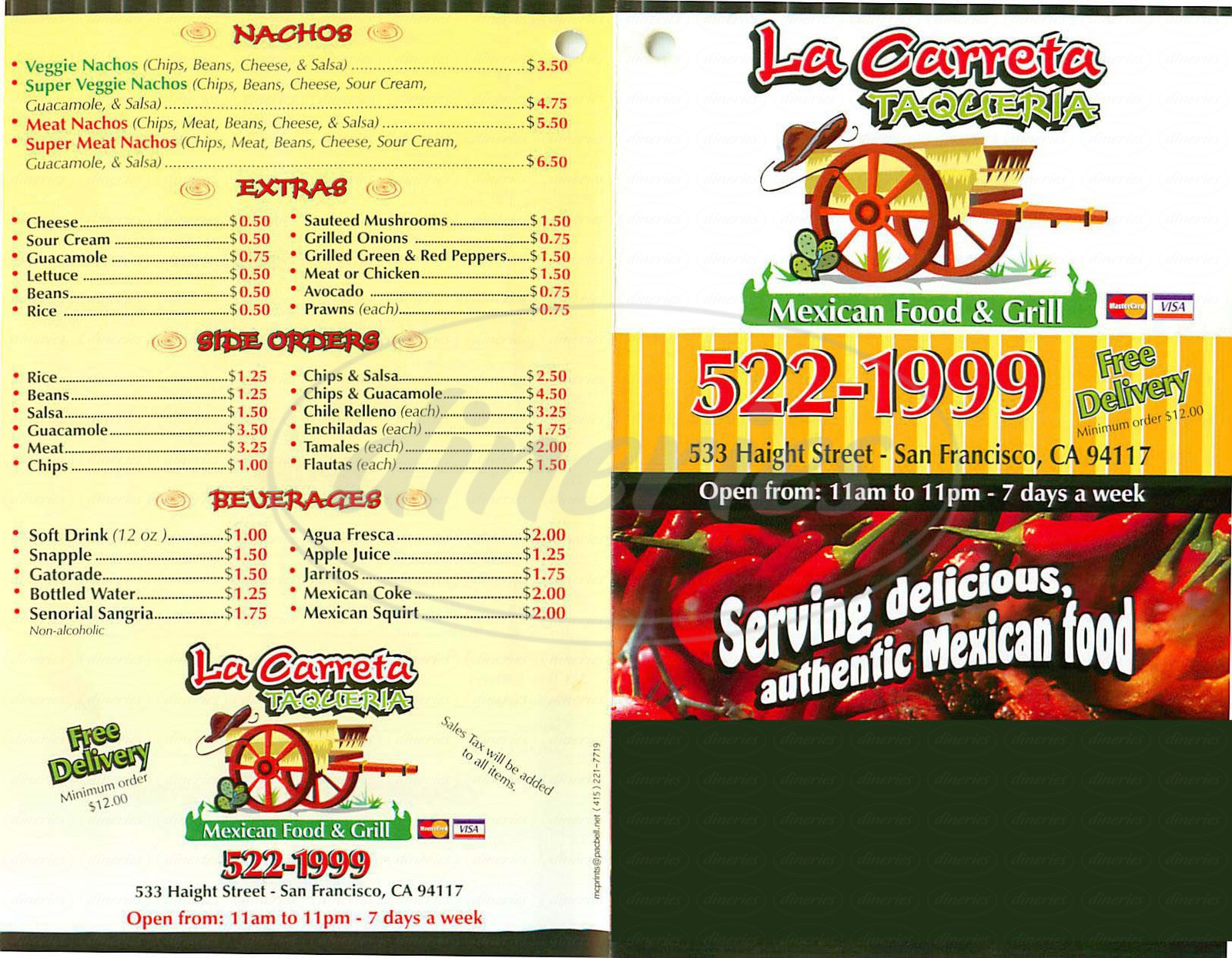 menu for La Carreta Taqueria