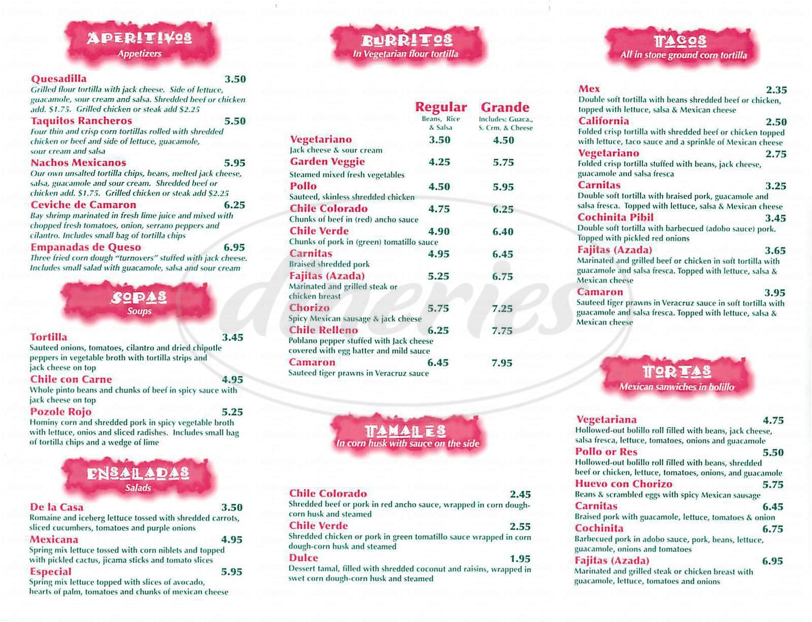menu for La Canasta