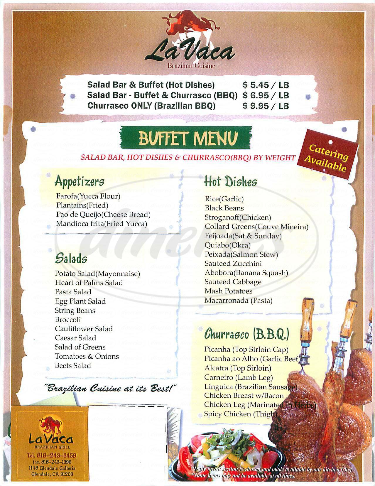 menu for La Vaca