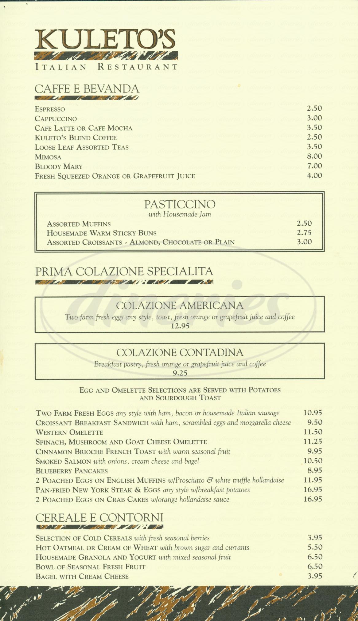 menu for Kuletos Restaurant