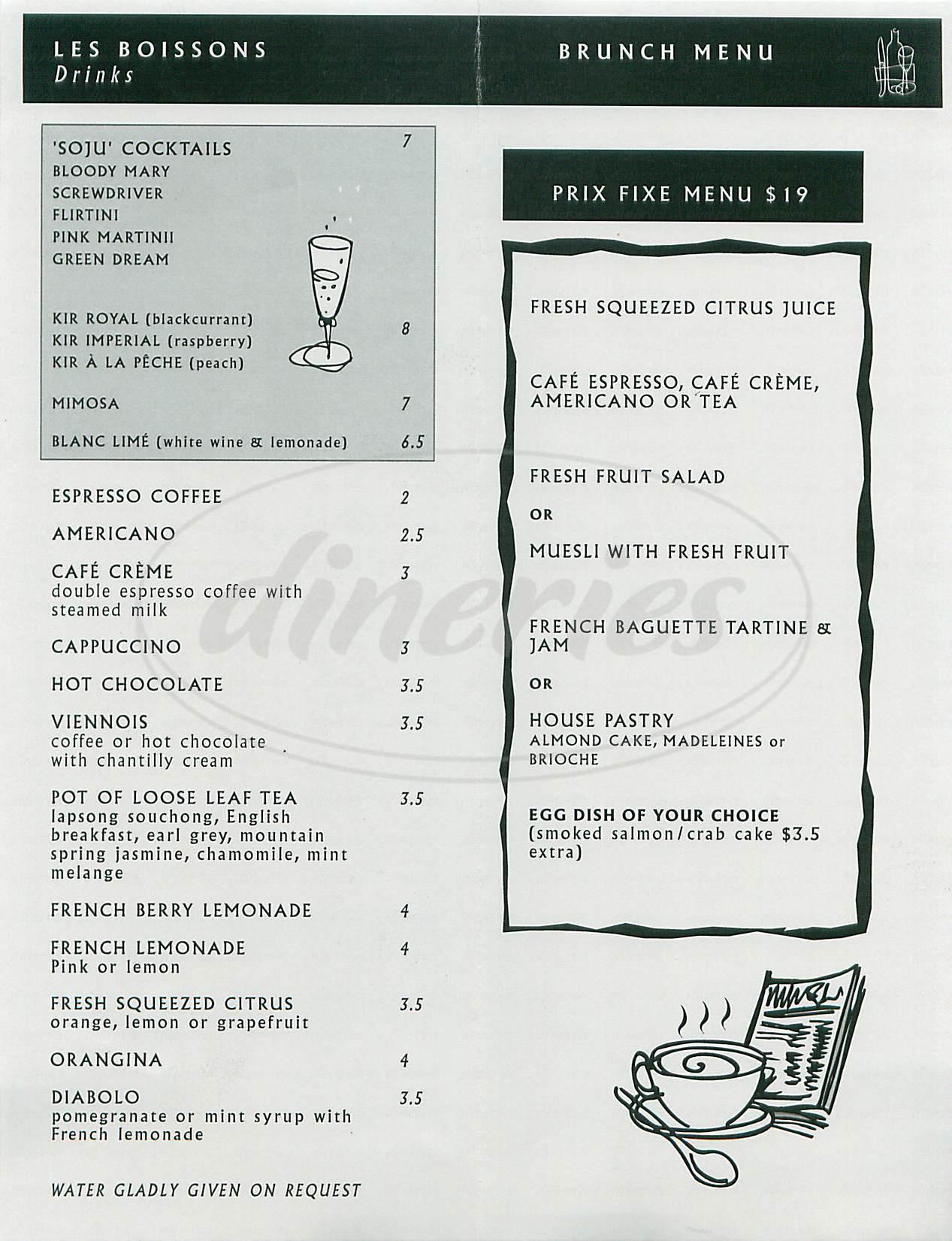 menu for Le Zinc
