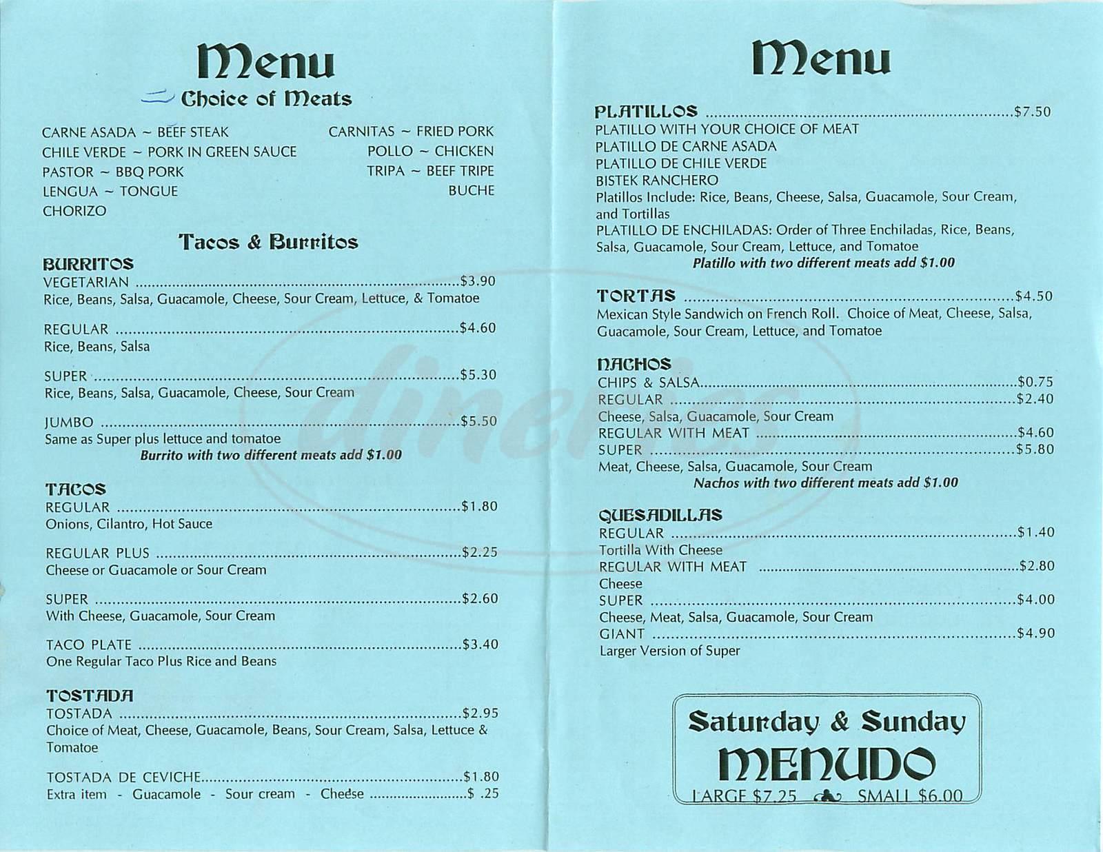 menu for Taqueria Eduardo