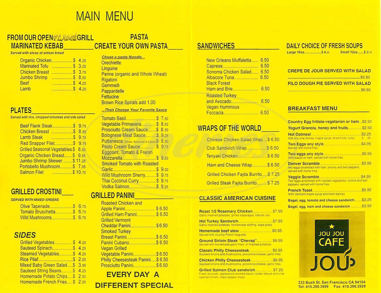 menu for Jou Jou Café
