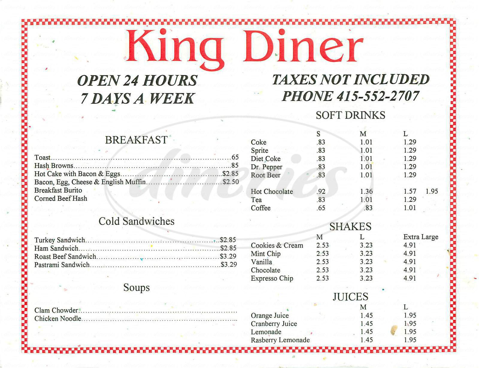 menu for King Diner