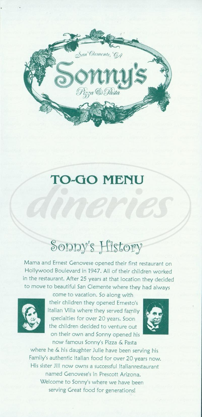 menu for Sonnys Pizza & Pasta