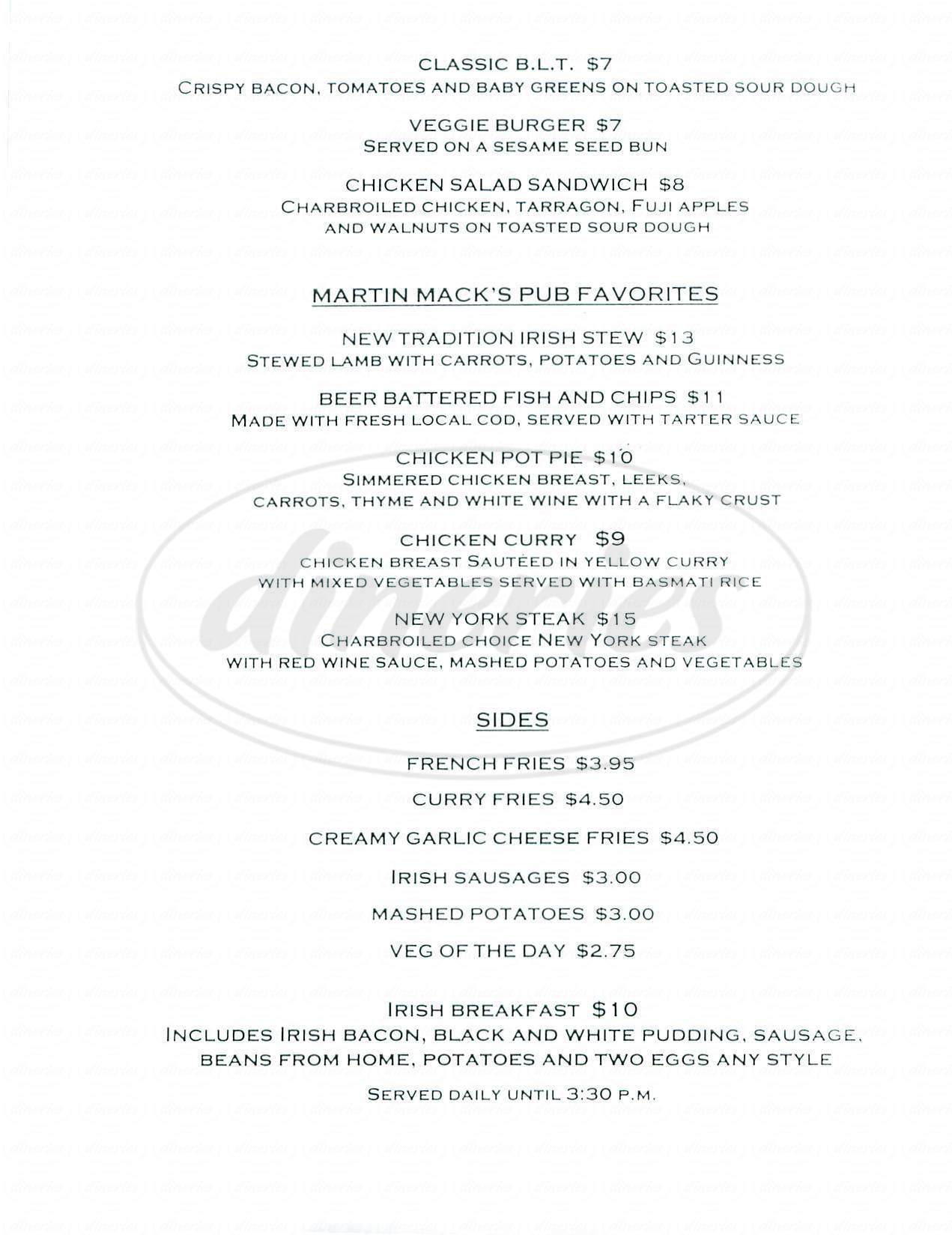 menu for Martin Mack's