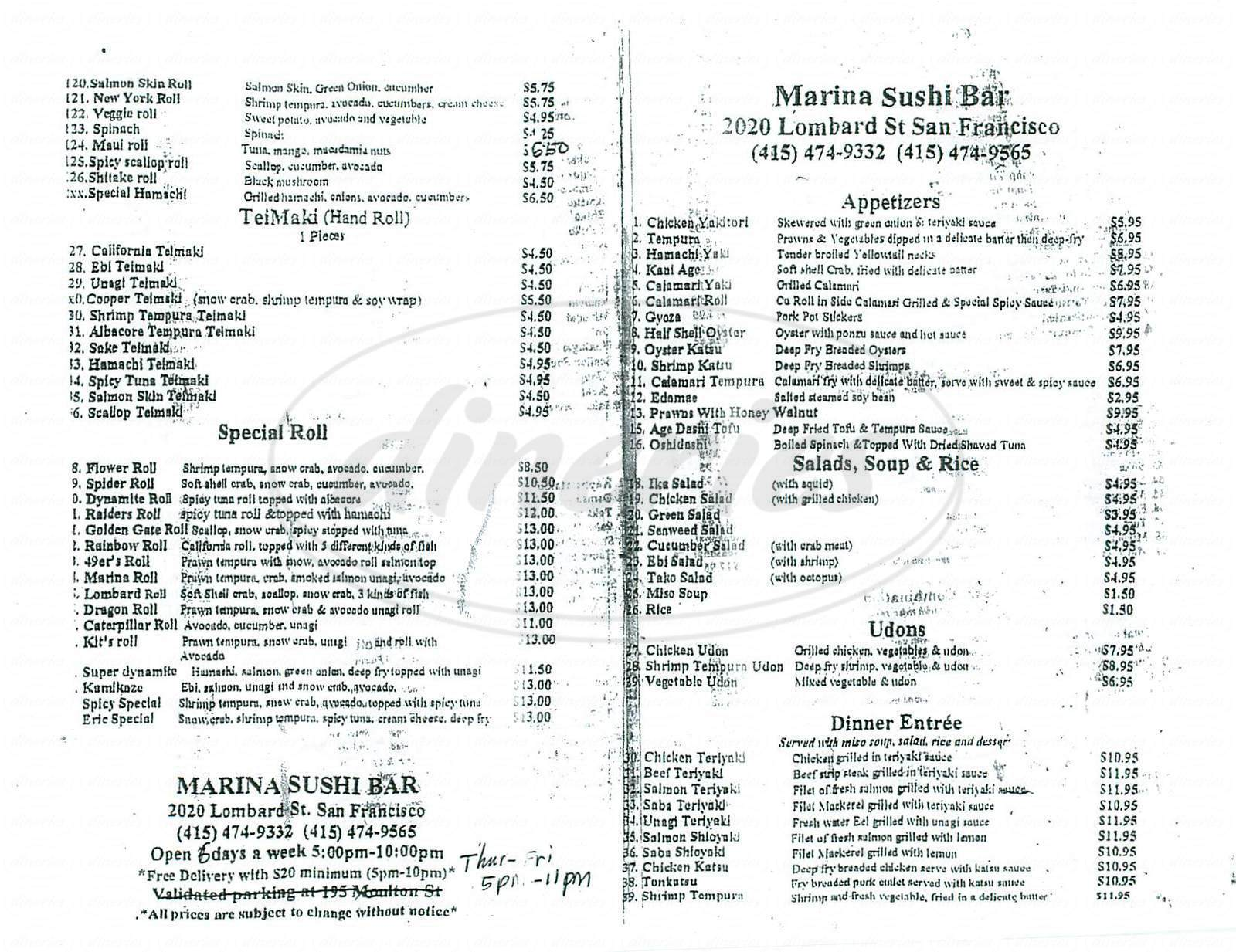 menu for Marina Sushi Bar