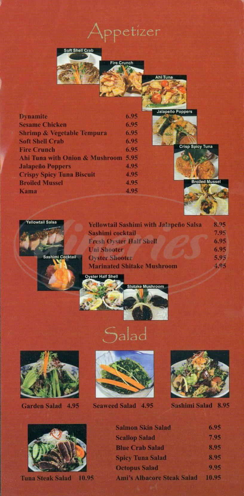 menu for Ami Japanese Restaurant