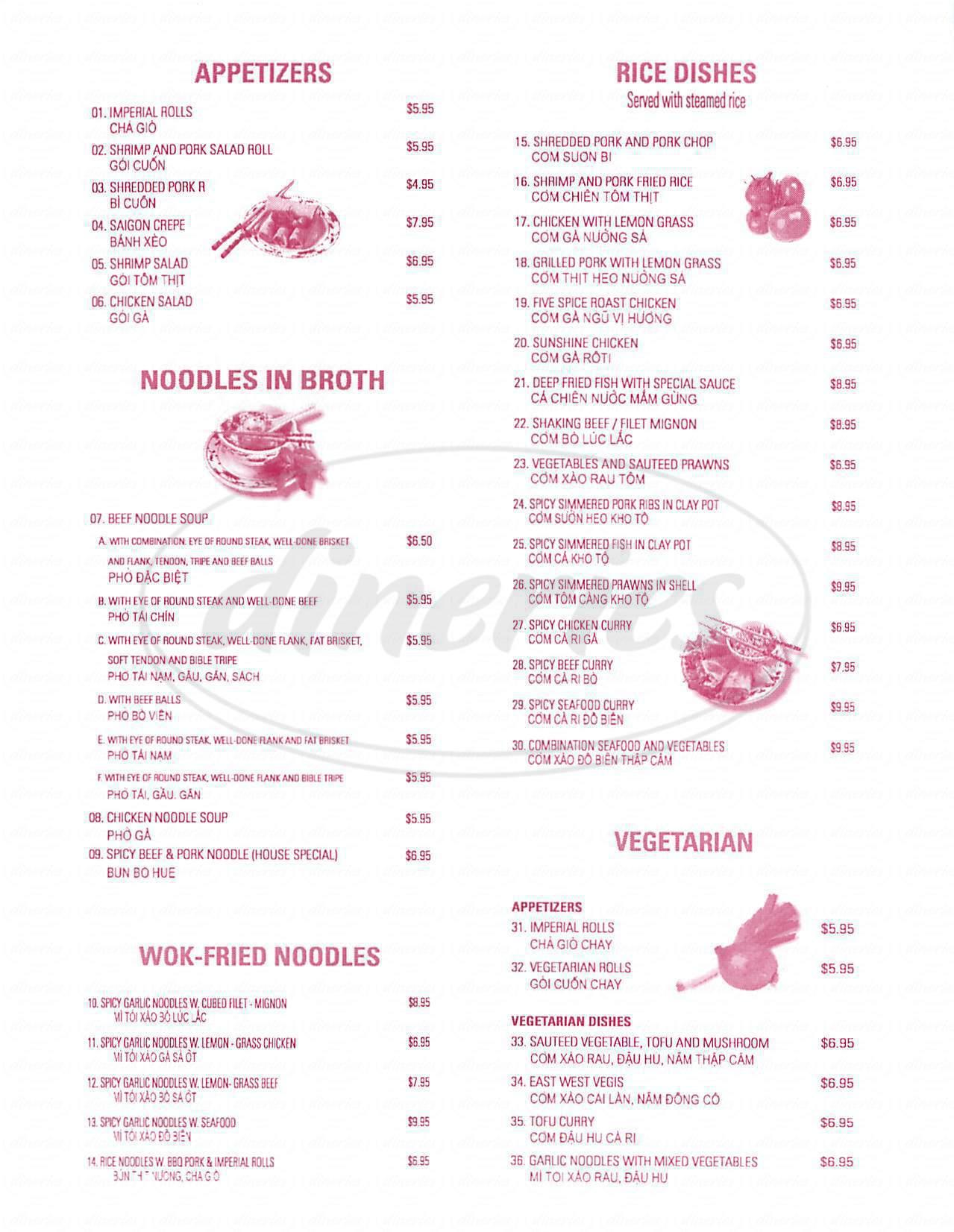 menu for Mangosteen