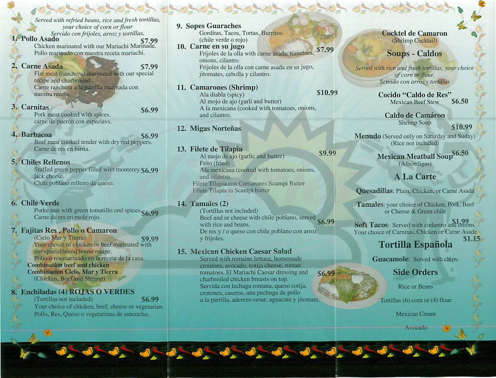 menu for El Mariachi Loco