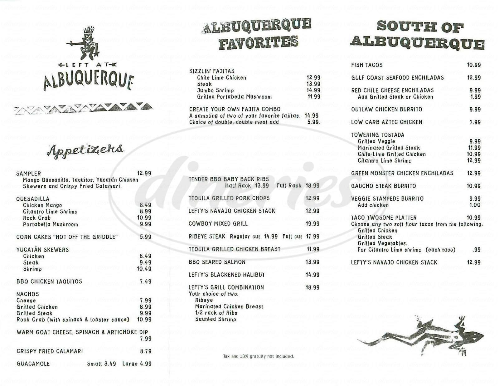 menu for Left At Albuquerque