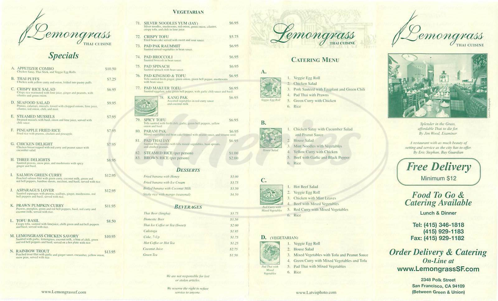menu for Lemongrass Thai Cuisine