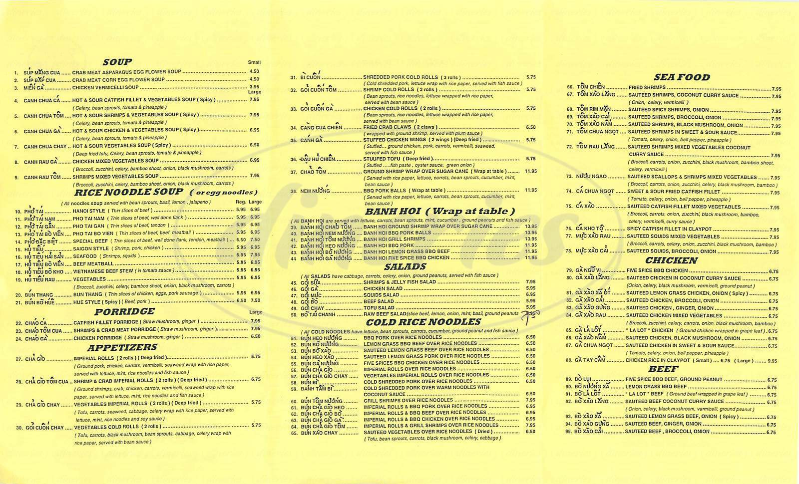 menu for Mais Vietnamese Restaurant
