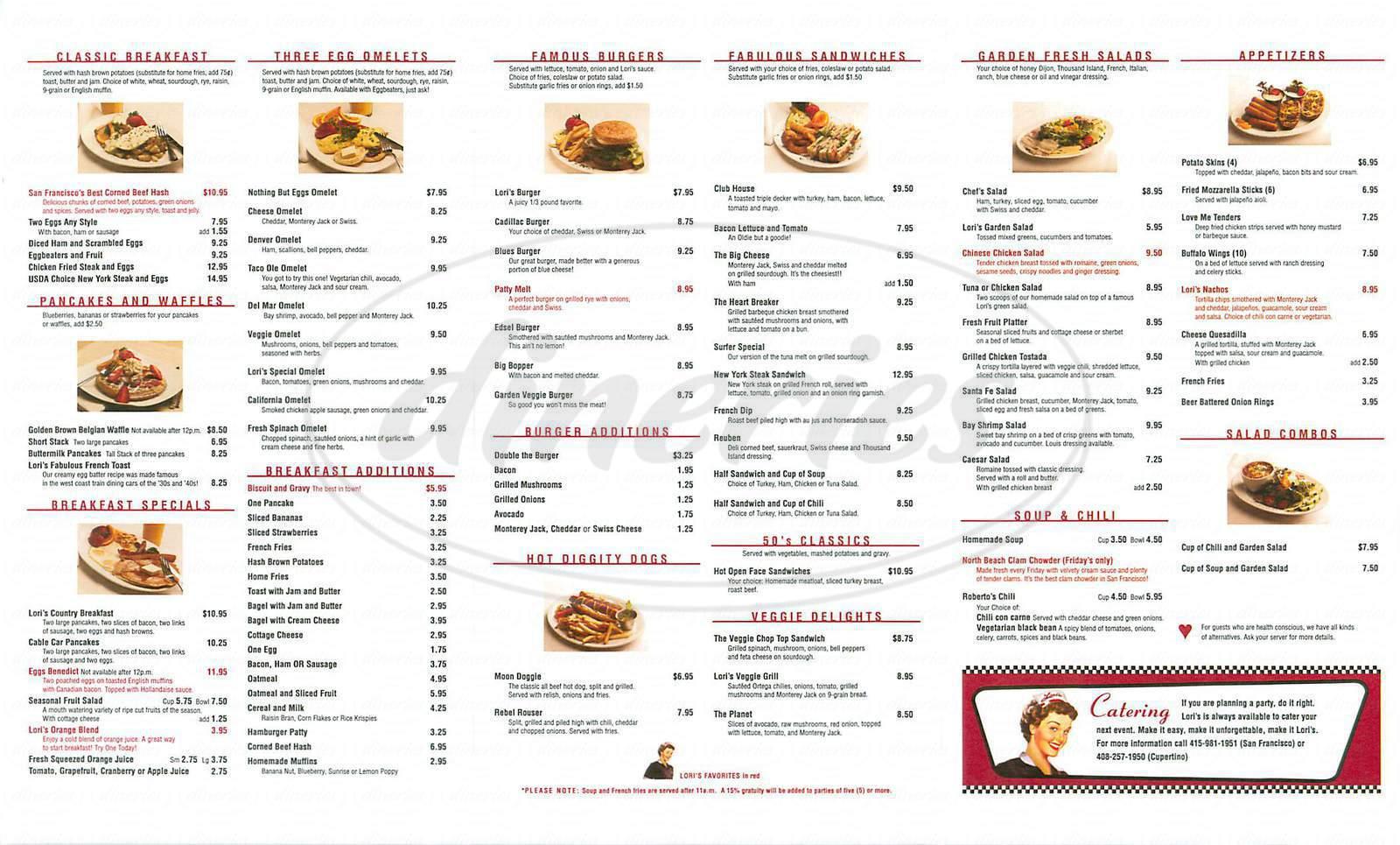 menu for Loris Diner