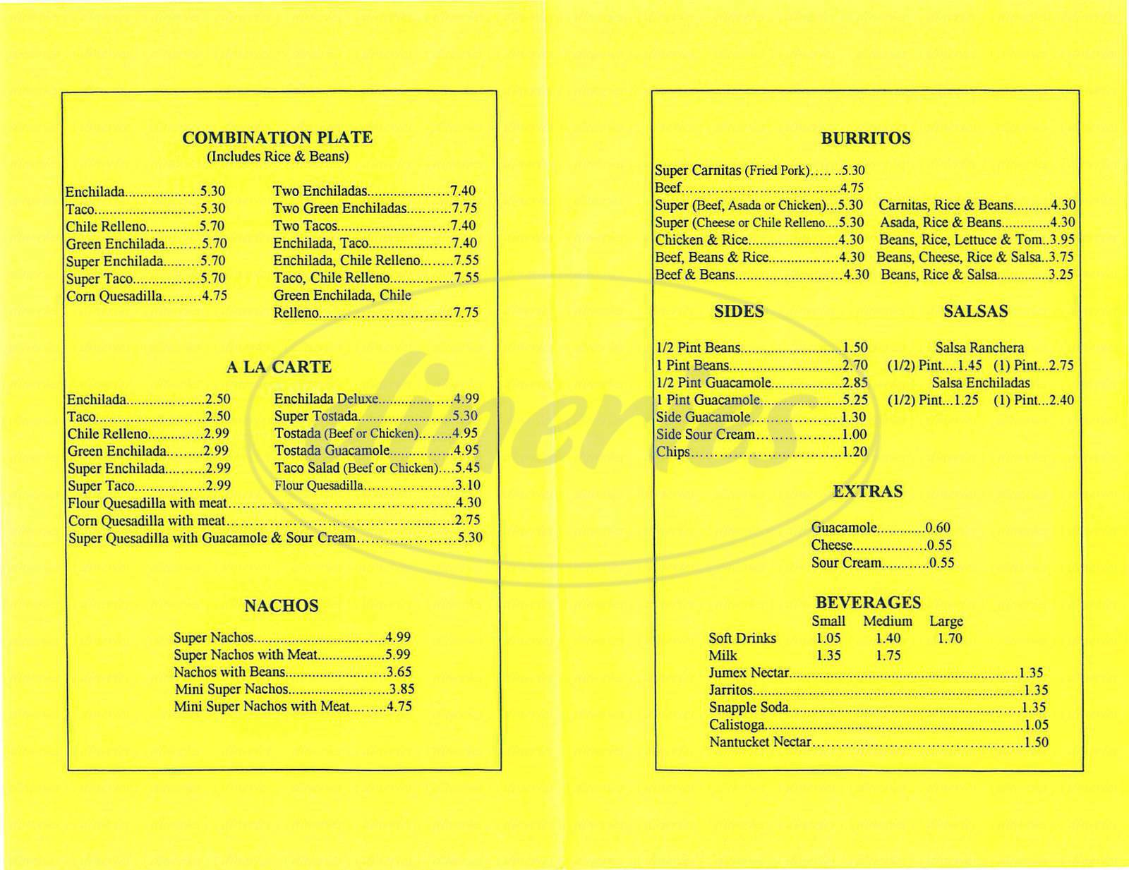 menu for Los Hermanos Mexican Food
