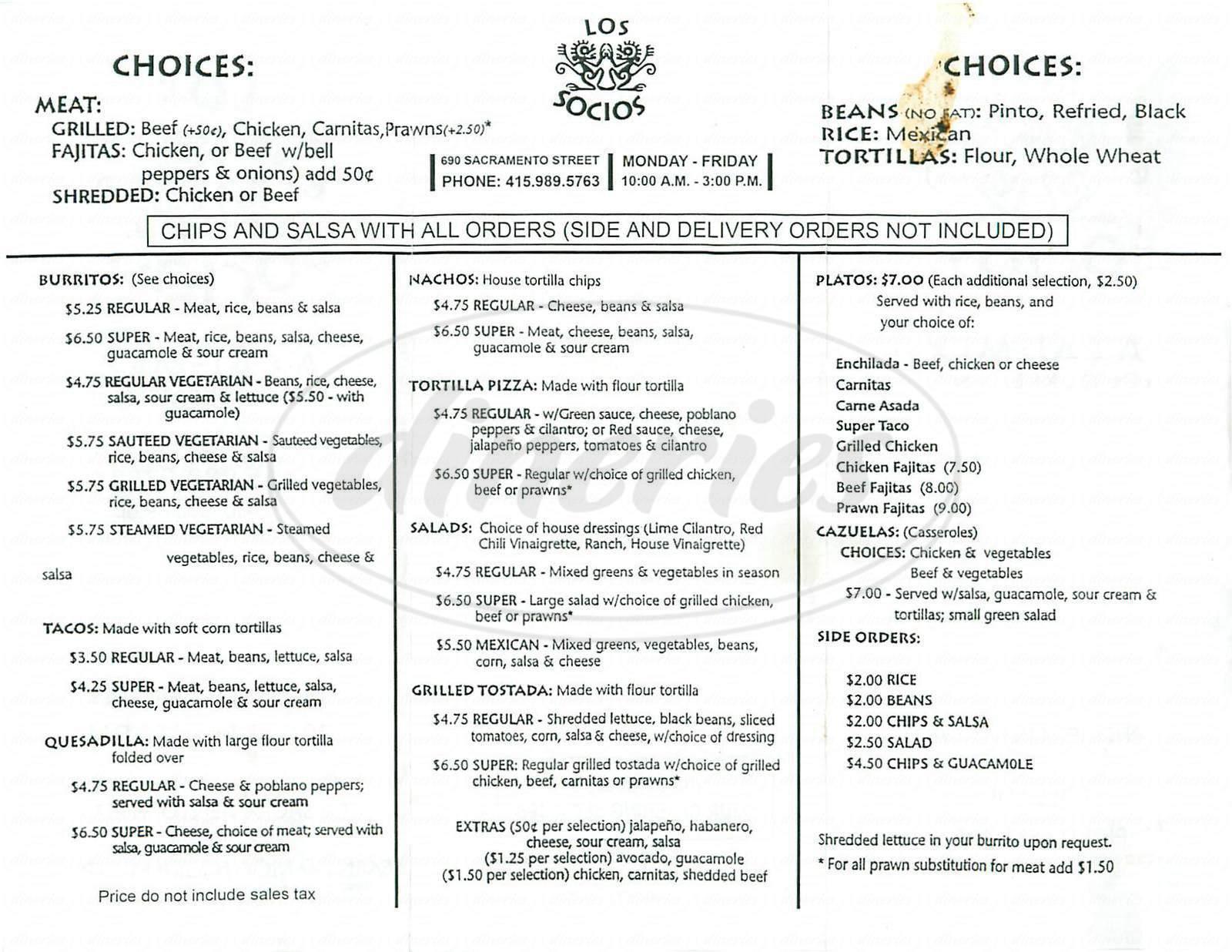menu for Los Socios