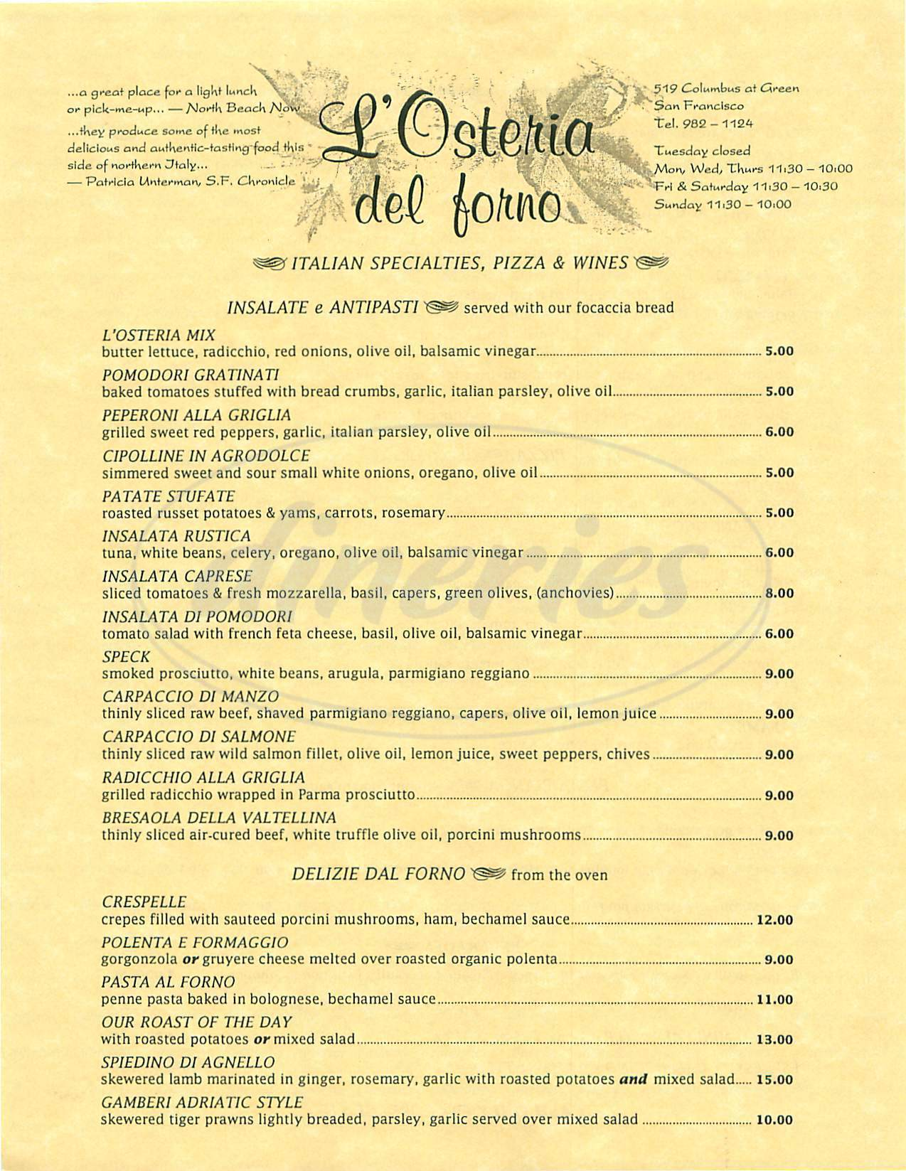 menu for L' Osteria del Forno