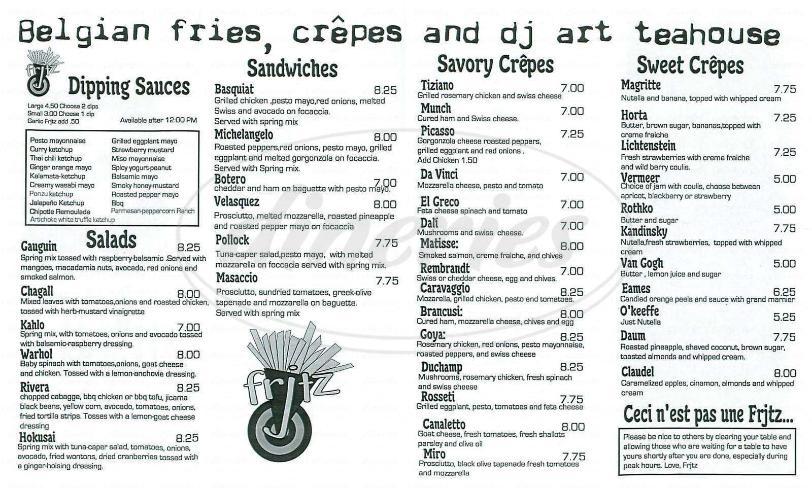 menu for Frjtz Fries