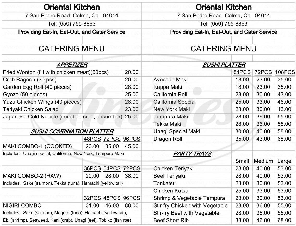 Oriental Kitchen Menu - Daly City - Dineries