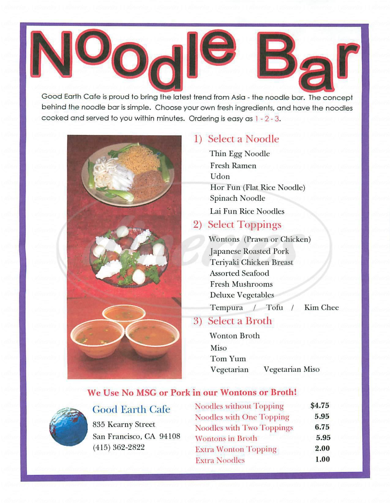 menu for Good Earth Café