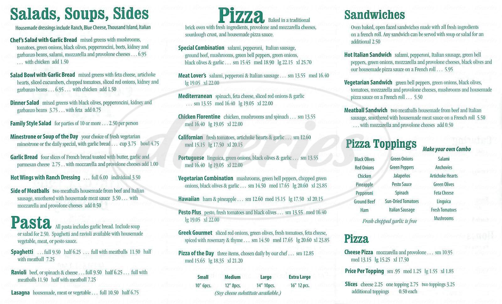 menu for Goat Hill Pizza