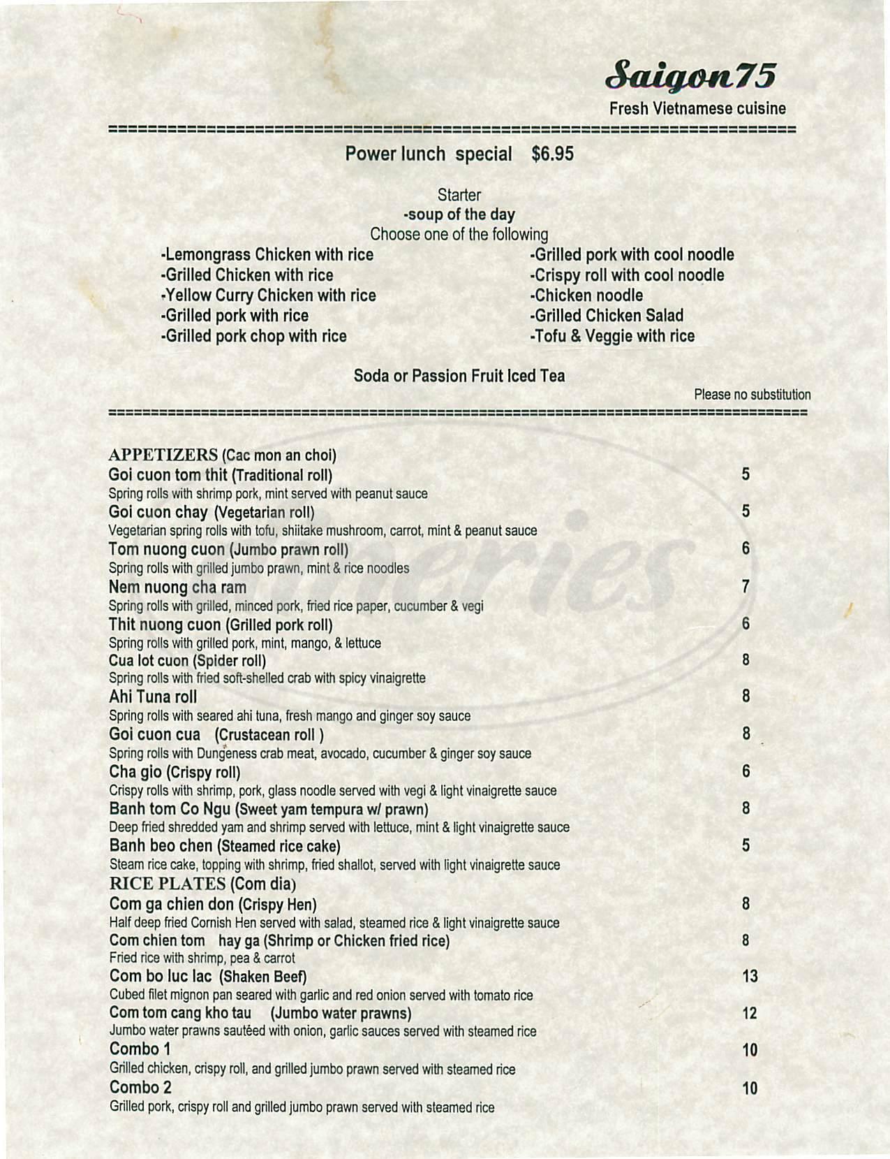 menu for Saigon 75 Bistro