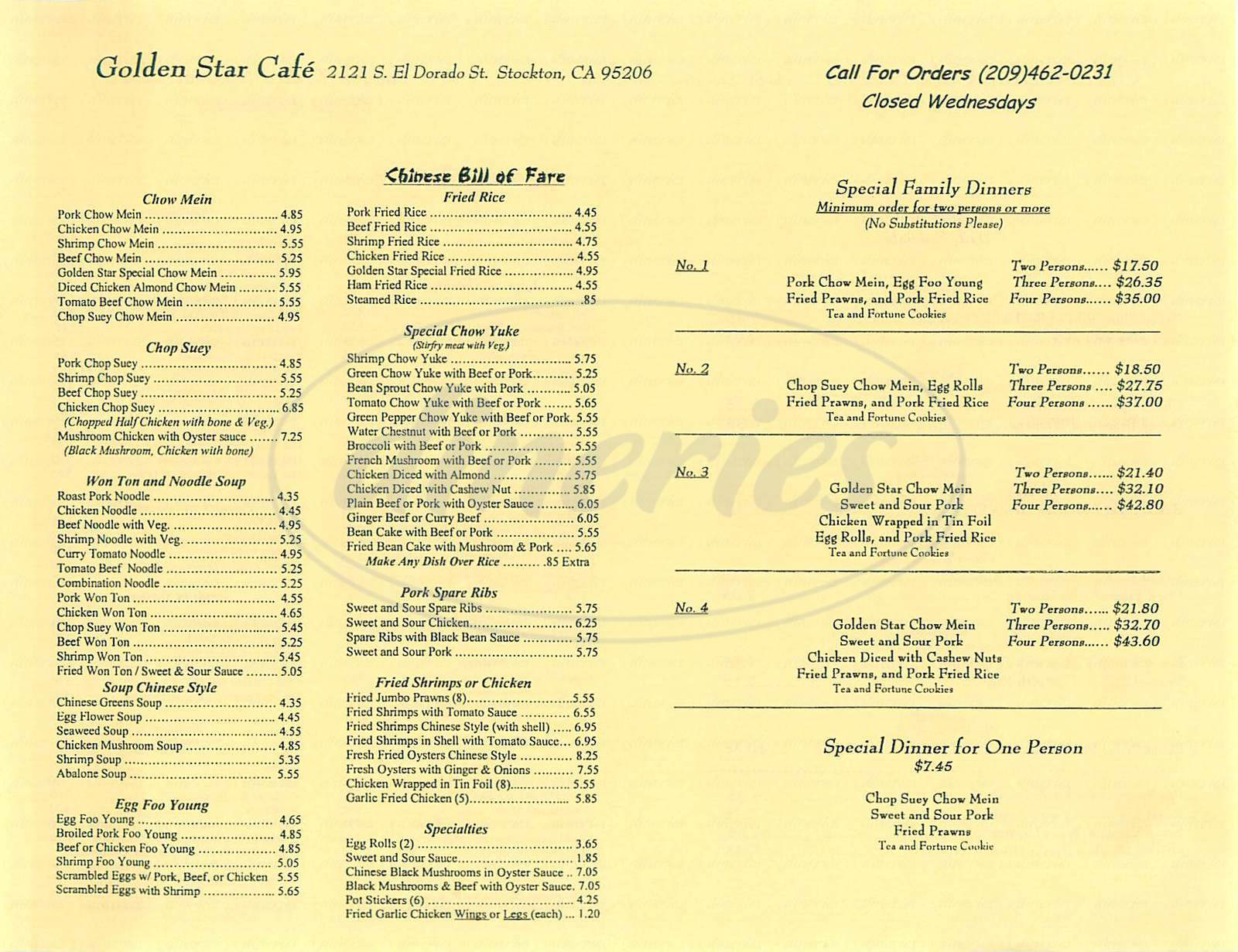 menu for Golden Star Café