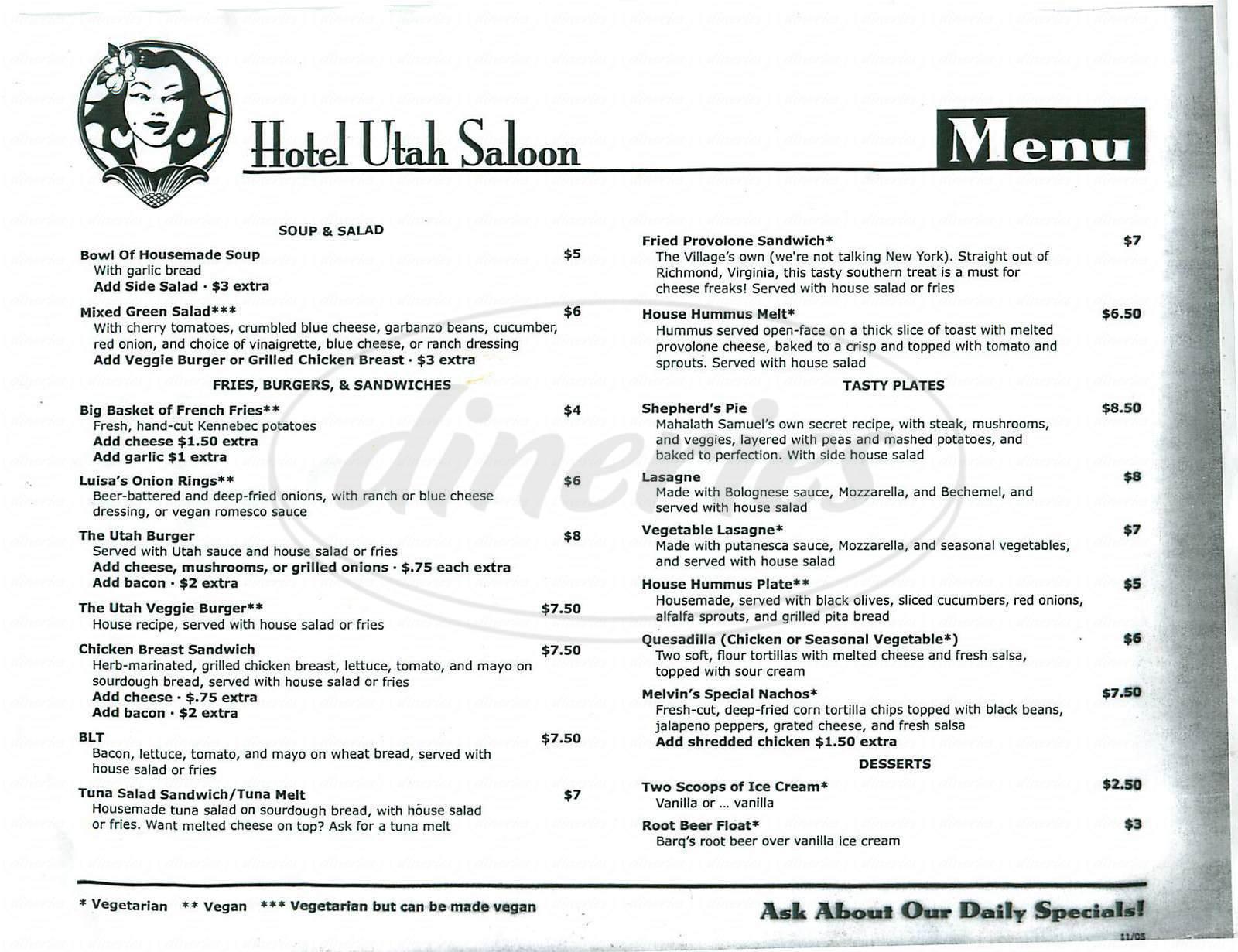 menu for Hotel Utah Saloon