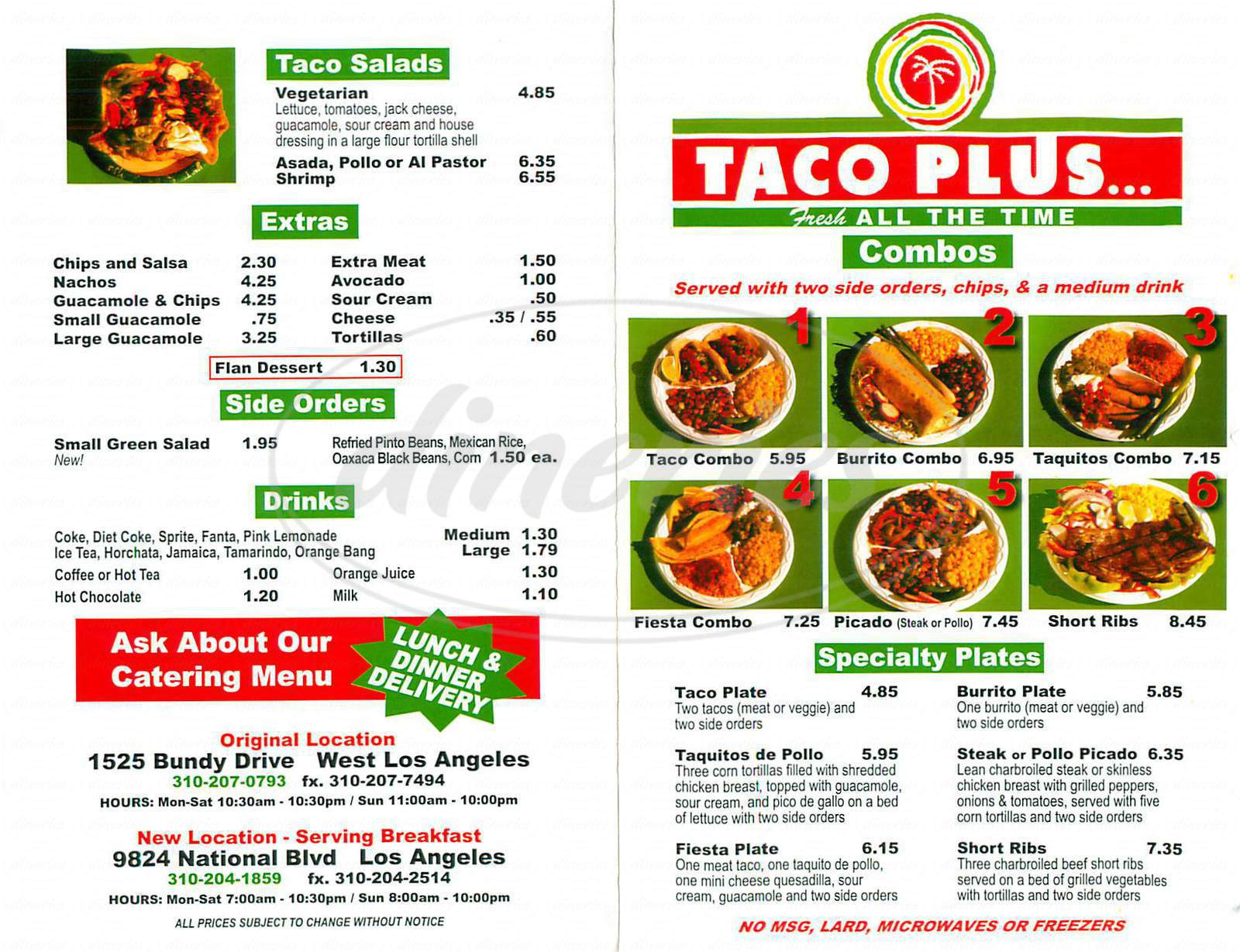 menu for Taco Plus