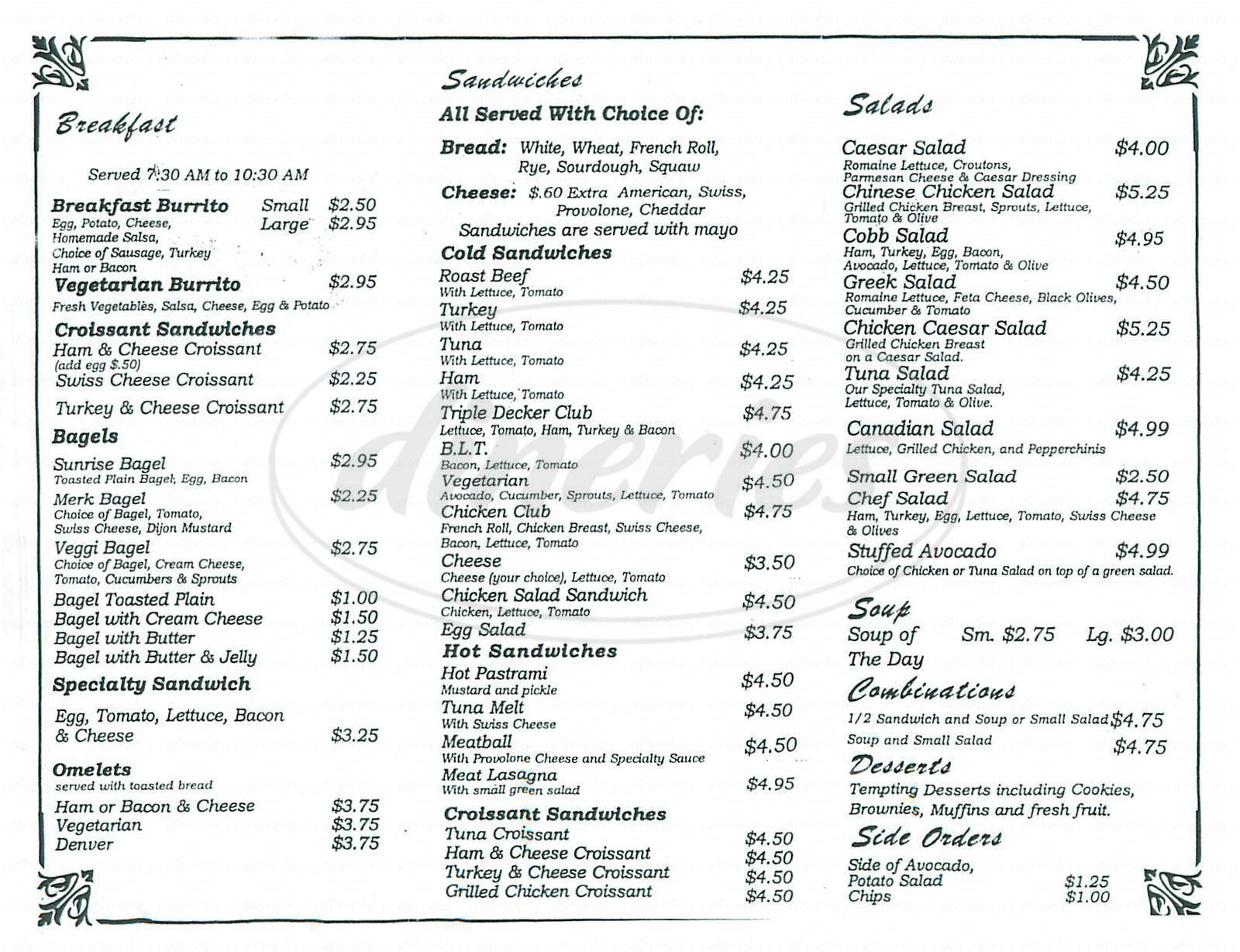 menu for Alton Café