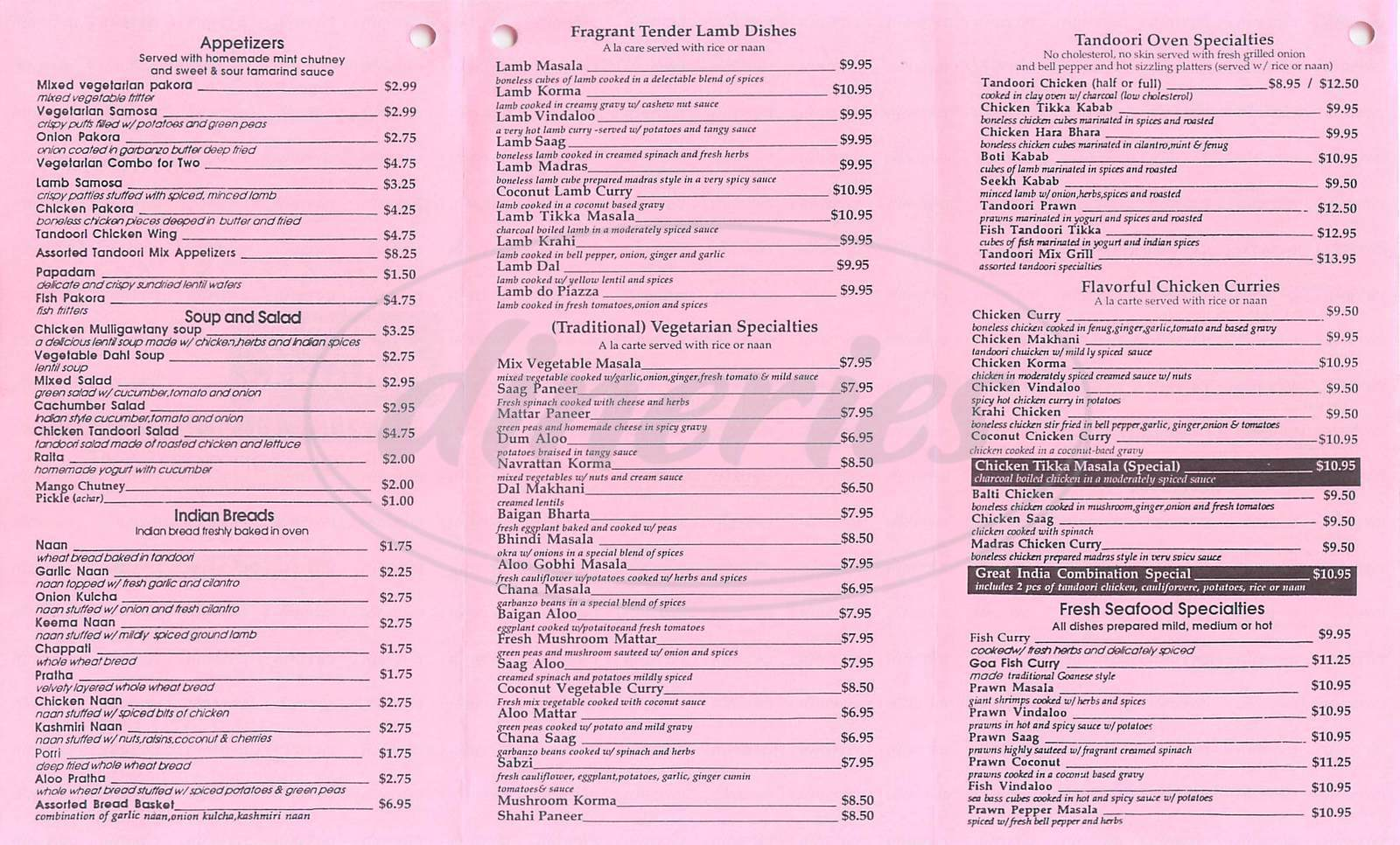 menu for Great India Restaurant