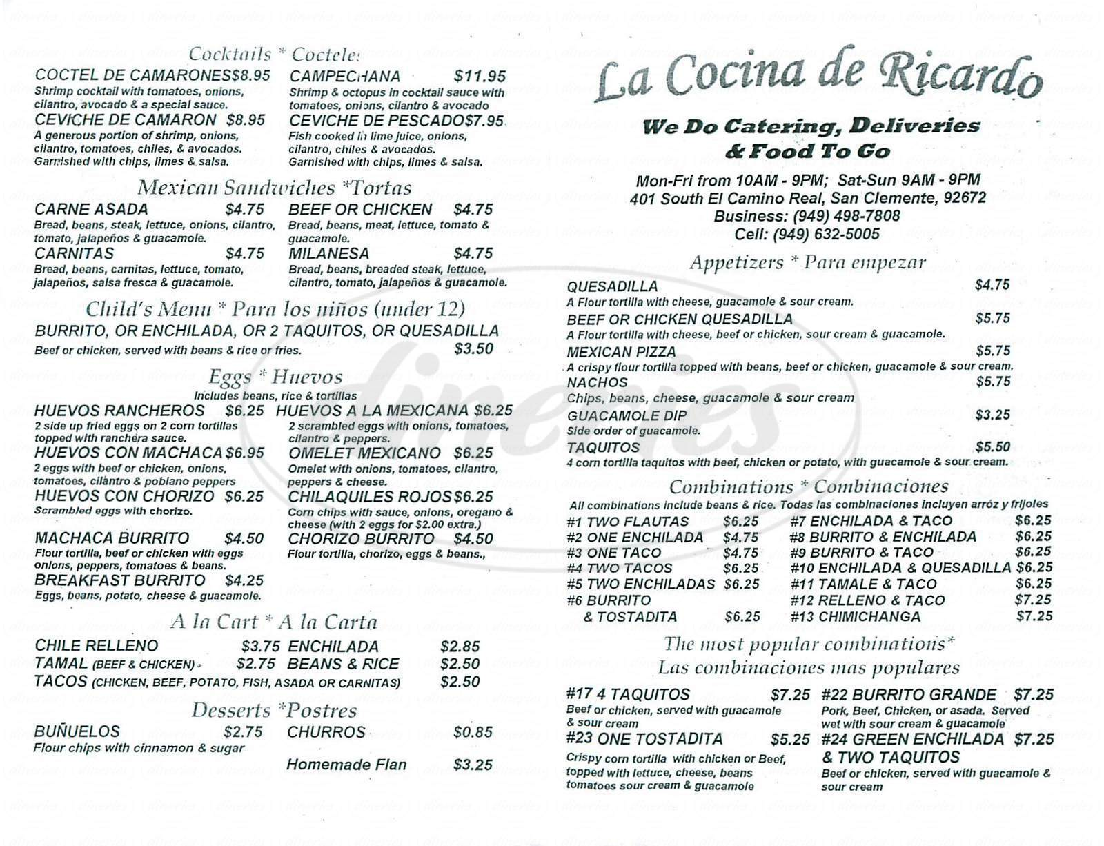 menu for La Cocina de Ricardo