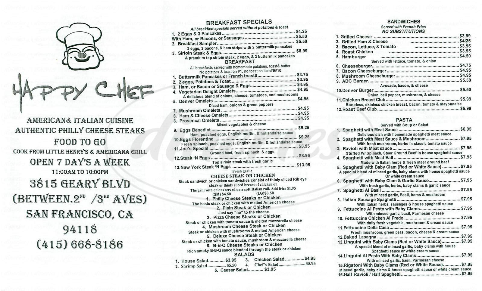 menu for Happy Chef Café American Grill