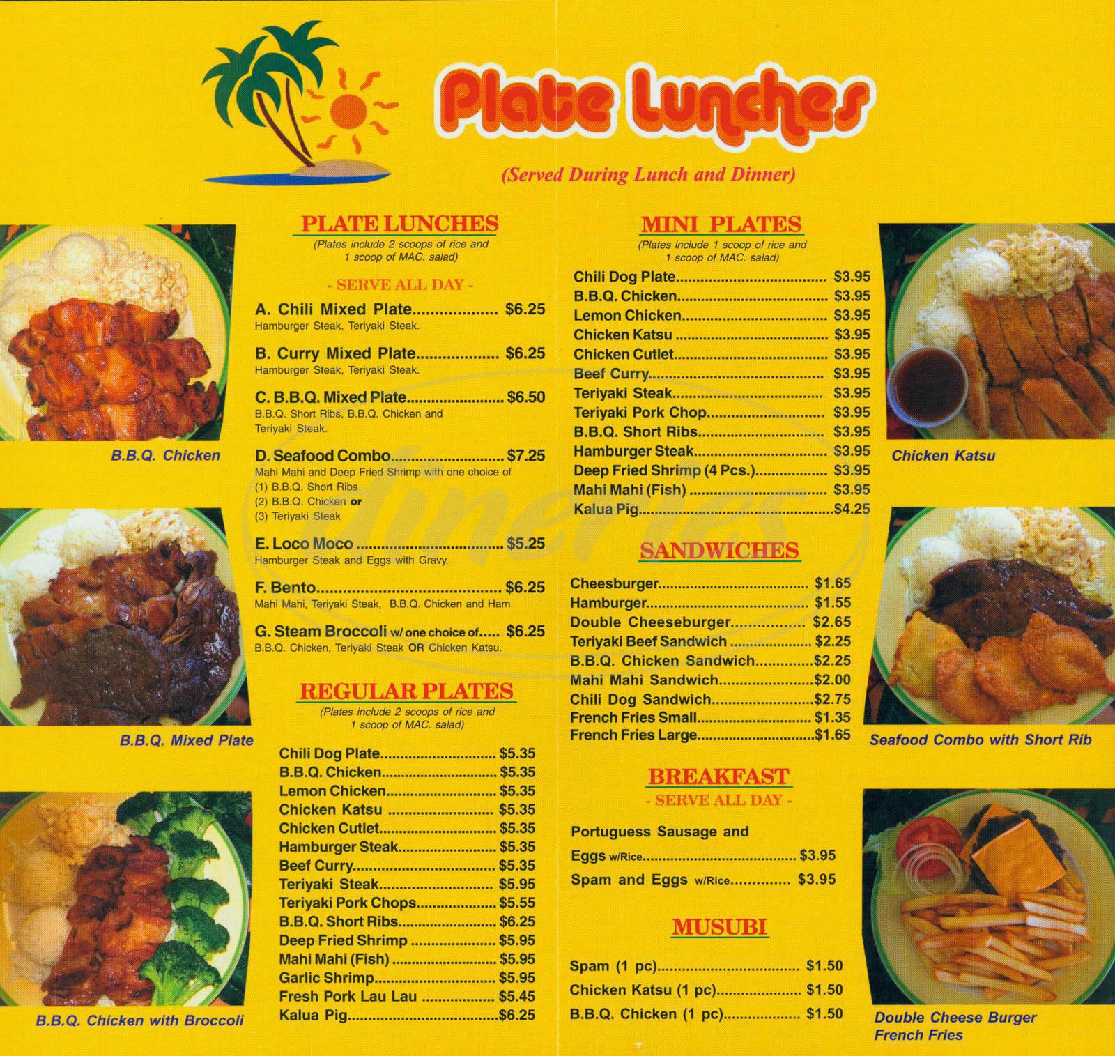 menu for Hawaiian Drive Inn